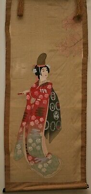 Exqusite Antique Japanese Hand Painted Portrait Of A Noble Woman On Silk c1800s