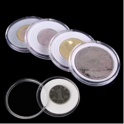 50pcs Coin Capsules Coin Case Coin Holder Storage Container with White Insert AU