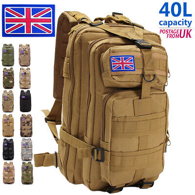40L Military Tactical Army Backpack Rucksack Camping Hiking Trekking Outdoor Bag
