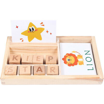 3 in 1 Spelling Learning Game Wooden Spelling Words Baby Kids Toy Enlightenment