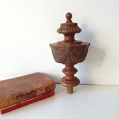 """Tall wood finial Vintage carved turned Salvage architectural Furniture 7.64"""""""