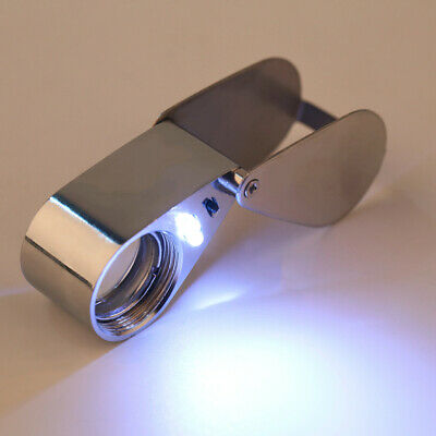 Portable 21mm 45x Glass Magnifying Magnifier Jeweler Eye Jewelry LED Loupe Loop