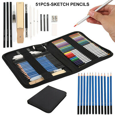 51pcs Professional Drawing Artist Kit Set Pencils and Sketch Charcoal Art Supply