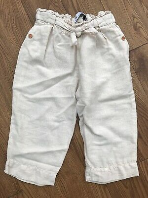 Zara Baby Girl Gream Linen Trousers 2-3 Years