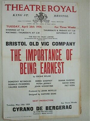 1959 Bristol Old Vic Poster The Importsnce of Being Earnest