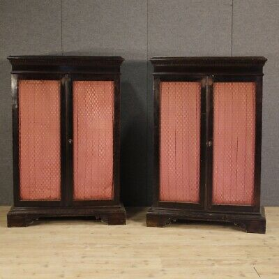 Pair Of Libraries Furniture Dressers Wooden Antique Style Renaissance Cabinet