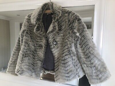 Girls Grey Faux Fur Jacket - Marks and Spencer Autograph Range Age 9-10