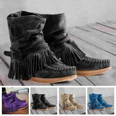 Women Slip On Flat Tassels Buckled Shoes Autumn Warm Vintage Comfy Ankle Boots