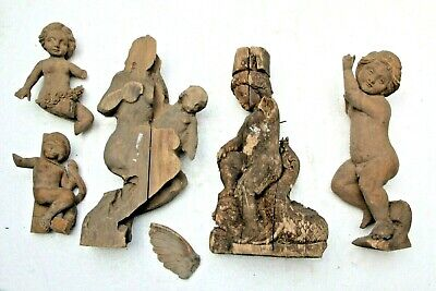 Selection Of Beautiful Hand Carved Wood Cherub Angel Fancy Gothic Carving Pieces