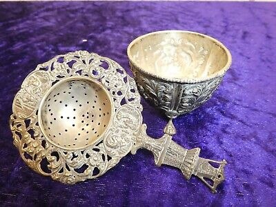 Interesting Antique Dutch? Sterling Silver Tea Strainer/Footed Bowl Inn Scenes