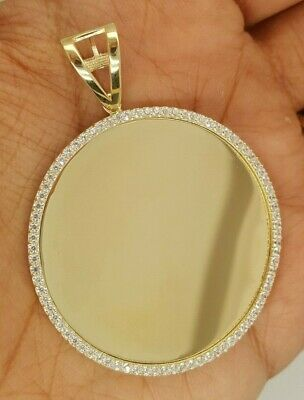 "14K Yellow Gold 0.15 CT Round Circle Disc Pendant Engravable 8.4 g 1.7"" Inches"