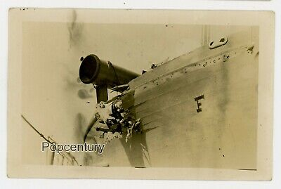 1912 RPPC Postcard Photo US Navy USS Florida Boat Damage Photograph Posted CUBA