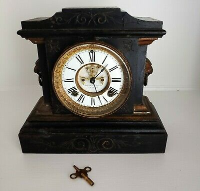 Antique Ansonia Mantle Clock Iron Body - Lion Heads - Key - Works perfectly USA