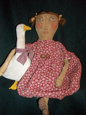 PATTERN,sewing,Primitive doll, & goose, by Dumplinragamuffin