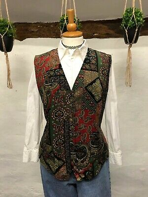 VINTAGE WOMEN'S WAISTCOAT SIZE 16 RED GREEN PAISLEY NEEDLECORD 80s 90s (wc2)