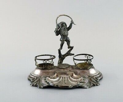 Swedish silversmith. Writing kit/inkwell in silver with elf. 1890's.