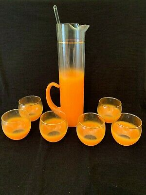 MCM Blendo Cocktail 8 Piece Set Roly Poly Glasses Pitcher Mid Century Modern Vtg