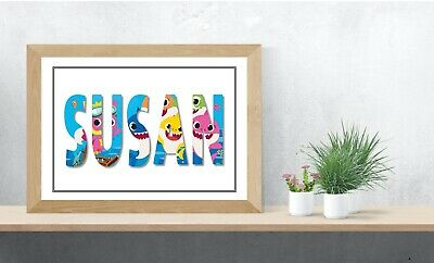 Baby Shark Personalised Name Wall Art Print Poster Ideal Gift A4 Childrens Room