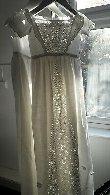 Vintage Christening Gown & Petticoat in white cotton with inset lace panels