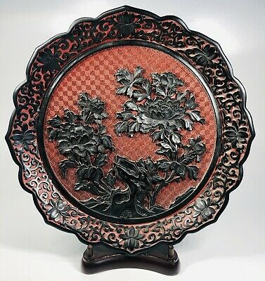 """Antique 1920s Chinese Hand-Carved Red Cinnabar Floral Motif Plate 9.5"""""""