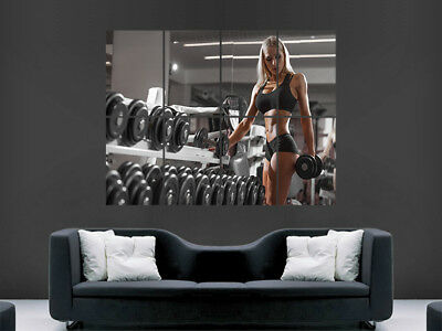 Hot Sexy Blonde Gym Girl Fitness Weightlifting Toned Weights Fit Wall Art Print