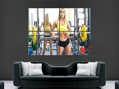 Gym Fitness Poster Girl Weights Fitness Sexy Hot Girl Art Wall Large