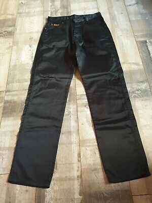 Stunning Vintage Retro 90s Black Shiny Trousers Size 12 by Wrangler