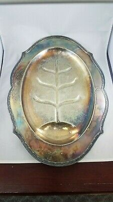 Vintage Sheffield Silver Co Silverplate Footed Oval Meat Serving Tray Juice Well
