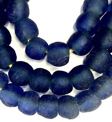 Strand of African Blue Recycled Glass Beads from Ghana Krobo Africa