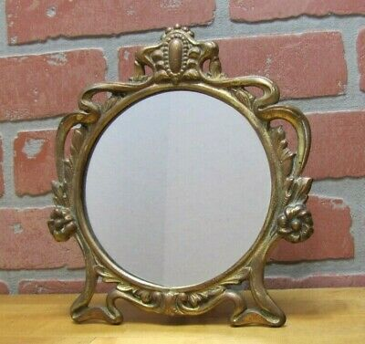 Antique Art Nouveau Mirror Decorative Arts Cast Iron Gold Dresser Countertop 181