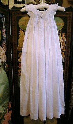 Antique Christening Gown Ayreshire Embroidery To The Bodice  Baby /Doll/Teddy
