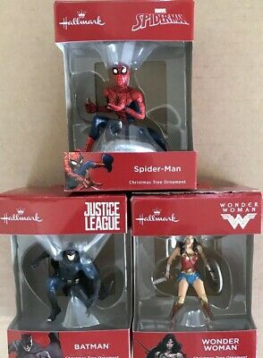 "Hallmark ""Spider-Man"" ""Wonder Woman"" and ""Batman"" Christmas Ornament"