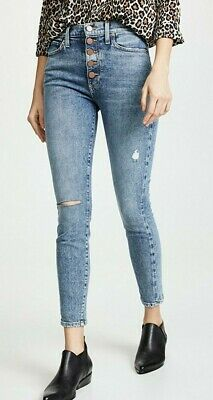 Alice & Olivia Good High Rise Exposed Button Skinny Jeans 30 Tried & True New