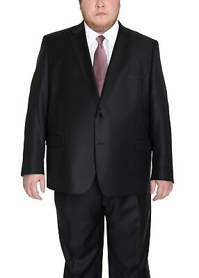 Mens 42R Men's Portly Fit Executive Cut Solid Black Two Button 2 Piece Wool Suit