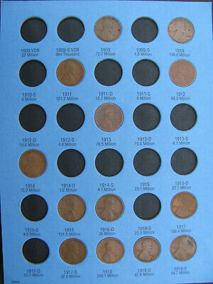 Lincoln wheat cent set in Whitman folder; 1909-1940PDS; with some low mintages!