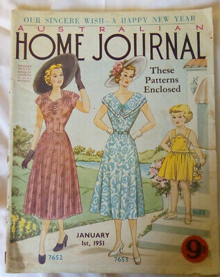 Vintage Australian Home Journal Magazine January 1951 Complete with Patterns