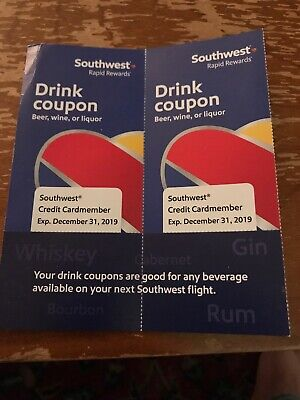 Southwest Airlines (2) Drink coupons Expires 12/31/19