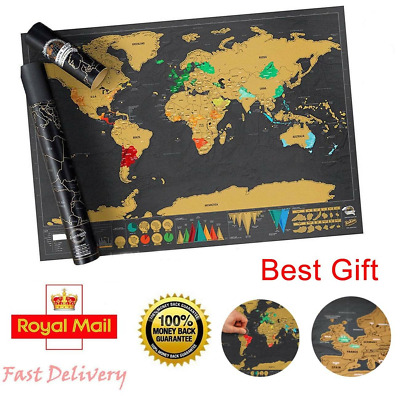 Small Scratch Off World Map Deluxe Edition Travel Log Journal Poster Wall Art UK