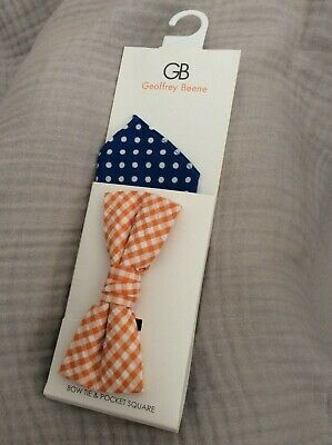 Geoffrey Beene Bow Tie & Pocket Square Orange Blue