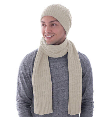 Unisex Heathered Womens Mens Fall/Winter Knit Beanie Scarf Set