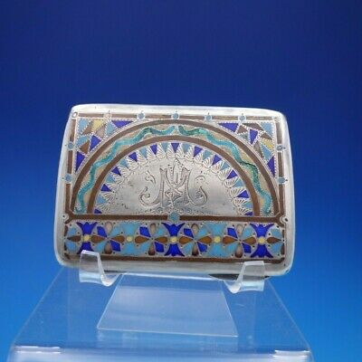 Gorham Sterling Silver Business Card Case with Enamel #115 Monogrammed (#4412)