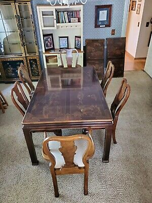 Vintage Henredon Mahogany Chinoiserie Asian Dining Room Table Chairs Furniture