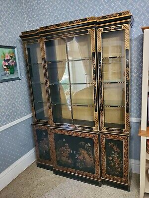 Vintage 1983 Chinoiserie Asian Black Lacquer Dining Room Lighted Hutch Furniture