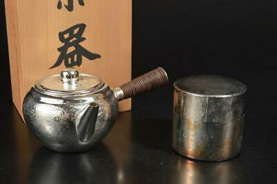 A794: Japanese Oxidized silver/Ibushigin Copper TEAPOT TEA CADDY Chaire 2pcs