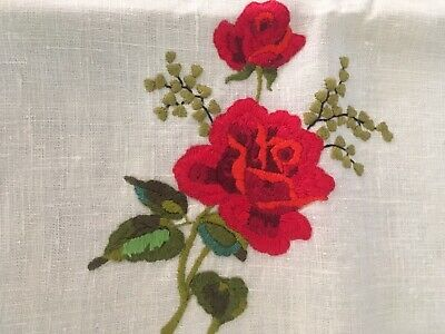 Superb vintage linen hand embroidered roses table supper cloth unused