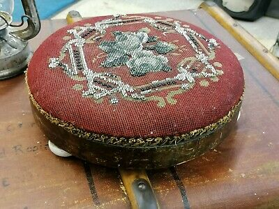 Antique Low Footstool with ceramic feet bead work FREE POSTAGE