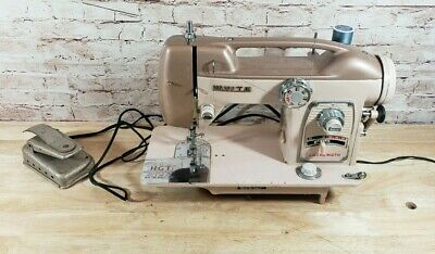 1964 White Zigzag Sewing Machine Model 764 - Powers Up - As-IS