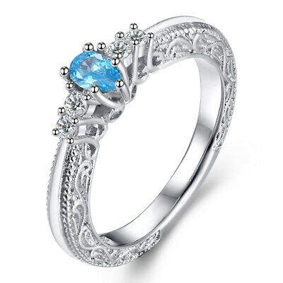 Aquamarine Zircon Silver Plated Womens Engagement Ring Jewelry Size 6-9 NJ361