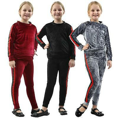 New Girls Kids Stripe Velvet Tracksuit Top & Bottom Velour 2 Piece Co-Ord Set