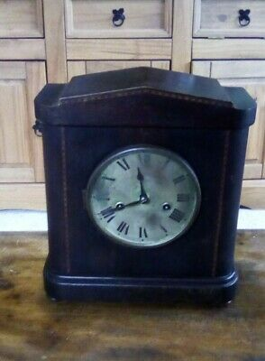 Large German Mahogany Mantel Clock